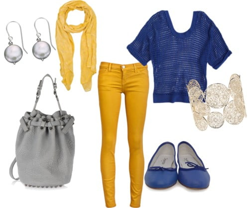 Blue + yellow + gray
