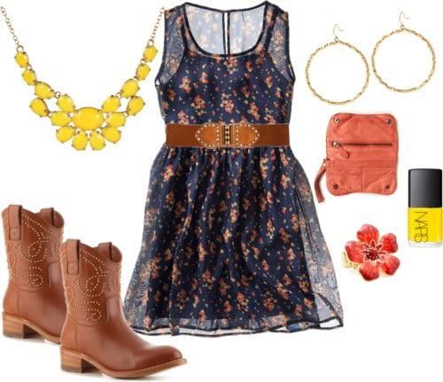 Navy dress w/ Western boots