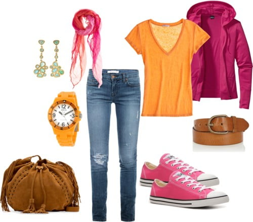 Pink + orange casual