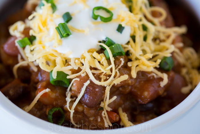 Turkey & chicken sausage 3-bean tequila chili