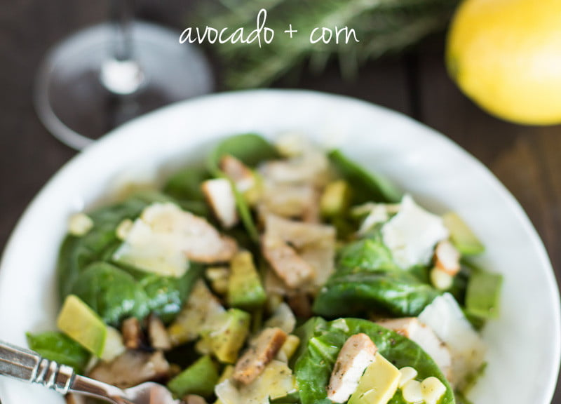 Lemon rosemary grilled chicken salad with avocado + corn | Such the Spot
