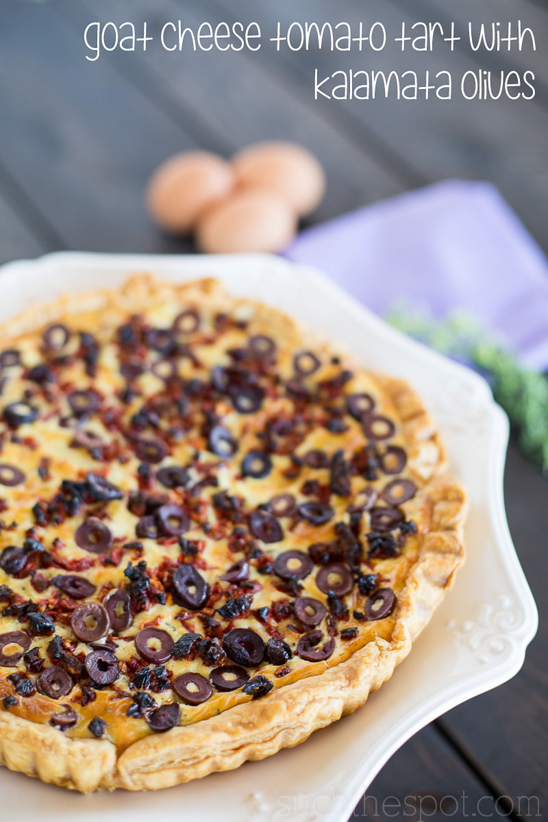 Goat cheese tomato tart with kalamata olives   Such the Spot
