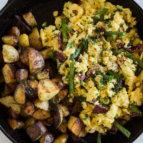Asparagus Scramble with Bacon and Goat Cheese Recipe