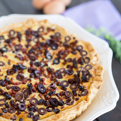 Goat Cheese Tart with Sun-dried Tomatoes and Kalamata Olives