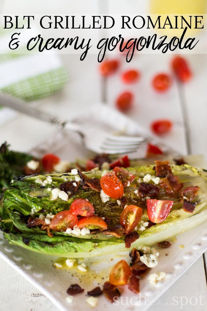 BLT Grilled Romaine salad with creamy Gorgonzola vinaigrette