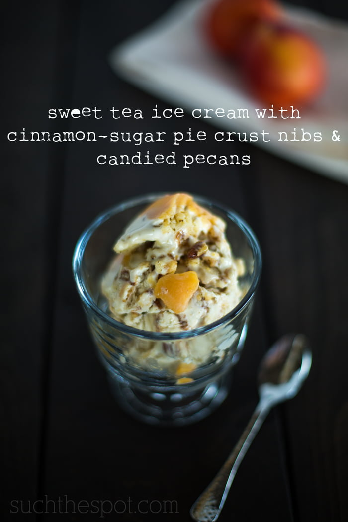Sweet tea ice cream with cinnamon sugar pie crust nibs & candied pecans | Such the Spot