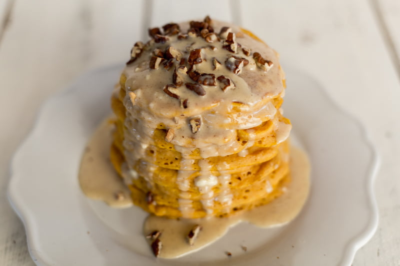 These fluffy pumpkin pancakes with maple cream cheese syrup and toasted pecans will change your life.