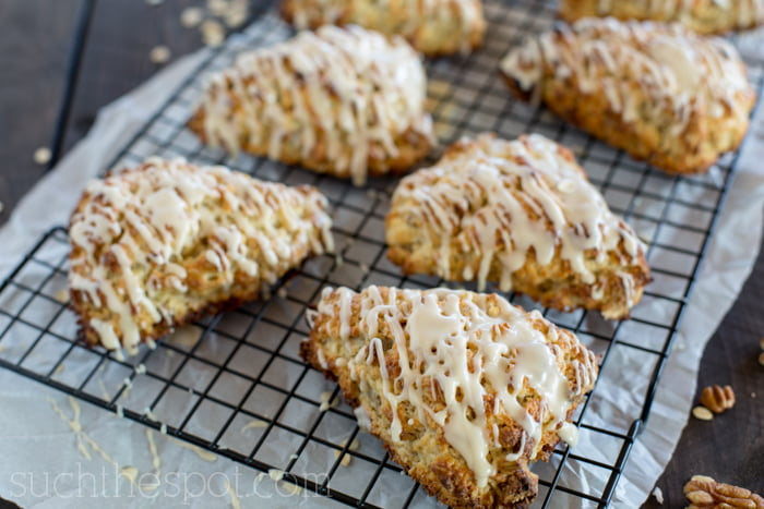Glazed maple-pecan oatmeal scones, perfect for a special breakfast that is easy to make!