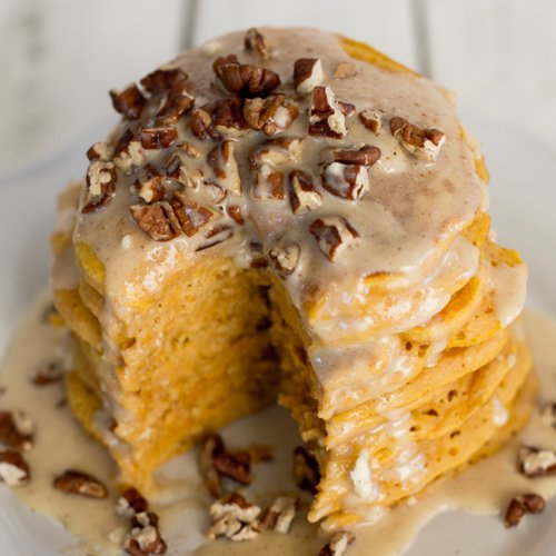 Fluffy Pumpkin Pancakes with Maple Cream Cheese Syrup and Toasted Pecans