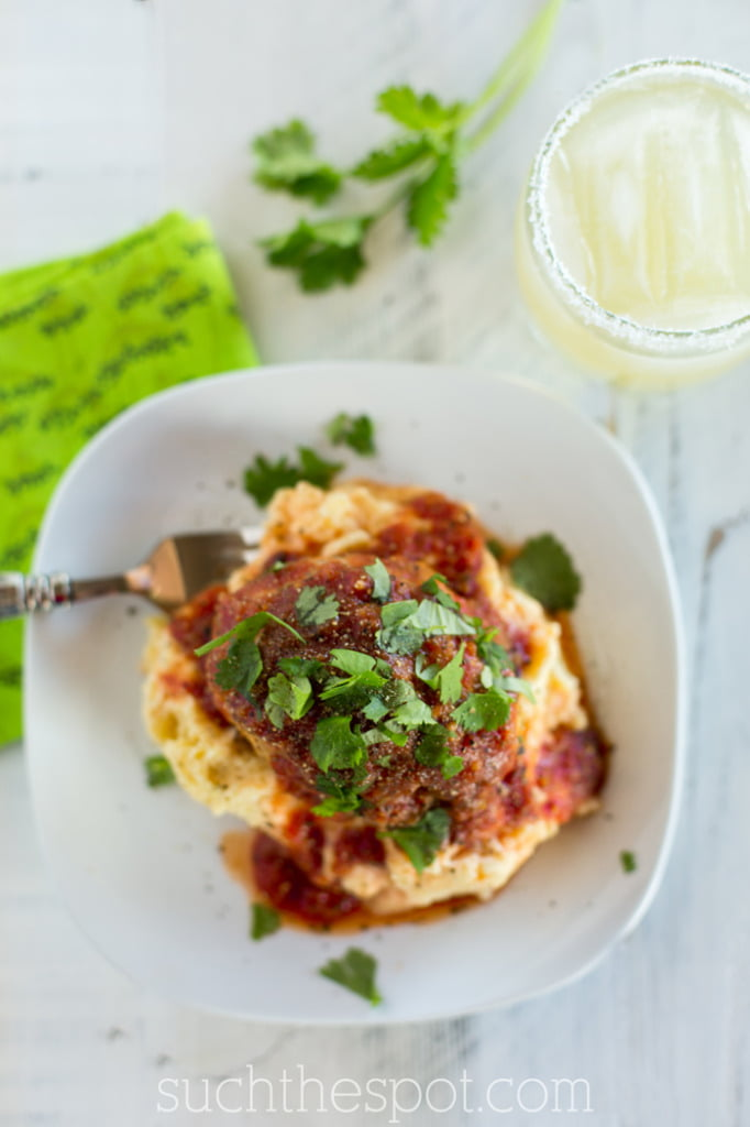 Mini Mexican meatloaves with roasted garlic mashed potatoes