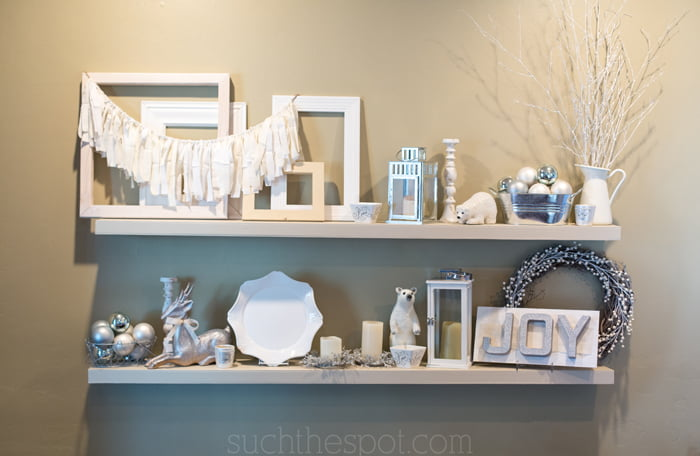 how to decorate for christmas shelves such the spot - Christmas Shelf Decorations