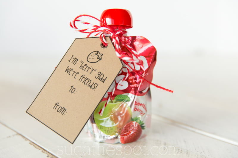 """Berry"" glad free printable valentine tags for a simple & inexpensive classmate gift"