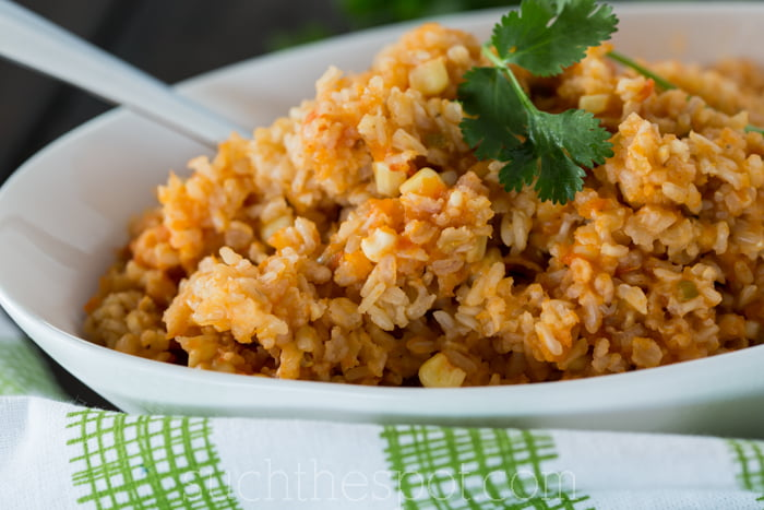The best recipe I've found for restaurant-style Mexican rice made with brown rice instead of white