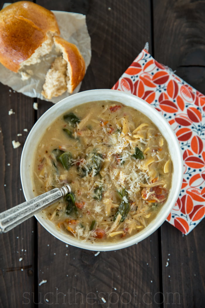 Creamy Crock-pot chicken Florentine soup made with real food ingredients