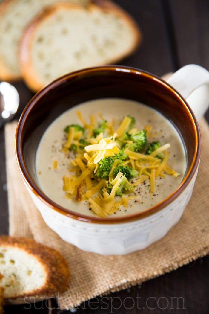 My favorite creamy broccoli cheddar soup (this one is the best recipe because it includes potatoes!)