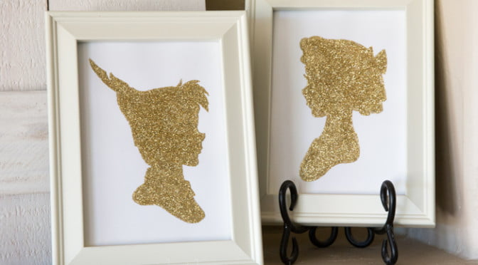 Gold glitter Peter Pan and Wendy silhouettes