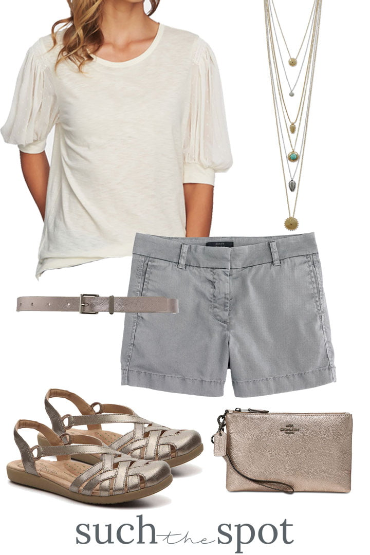 cute gray shorts with a dolman sleeve tee and champagne colored accessories