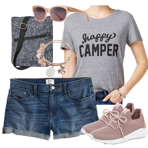 graphic happy camper tee with denim shorts and rose gold tennis shoes