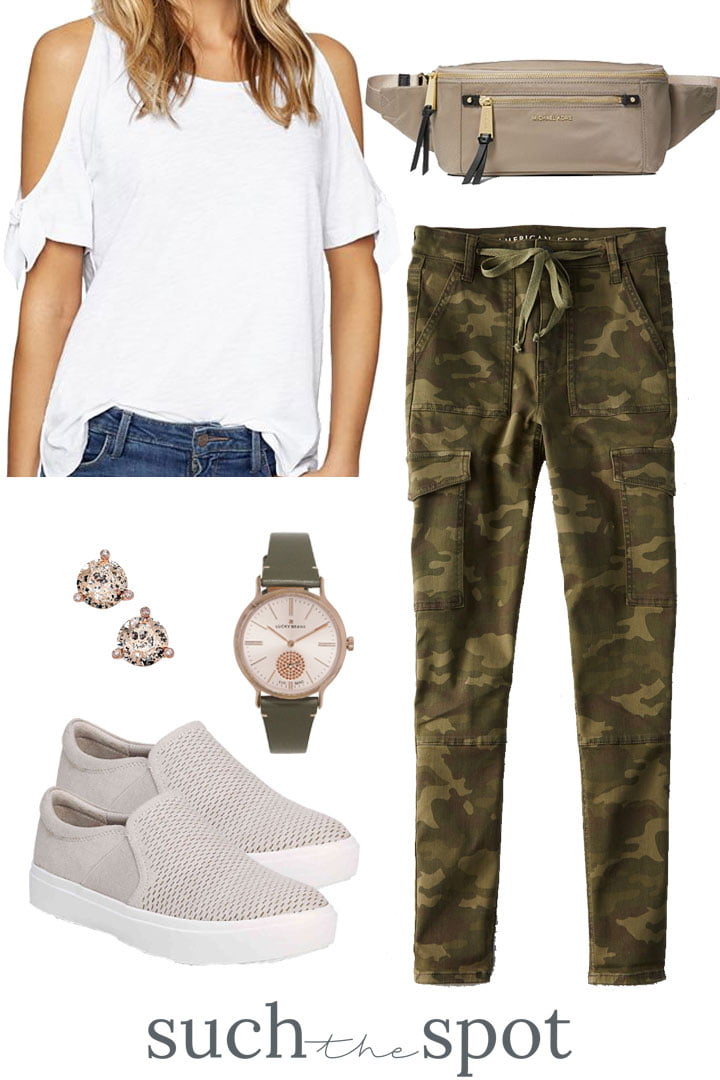 camo pants with white cold shoulder tee and nude accessories