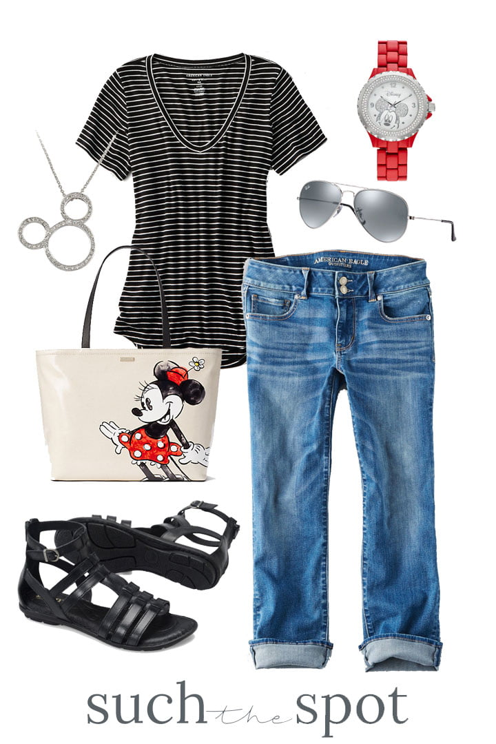 cropped jeans with black striped t-shirt and Minnie mouse purse