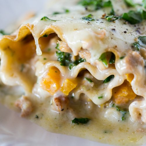 Kale and butternut squash lasagna rollups