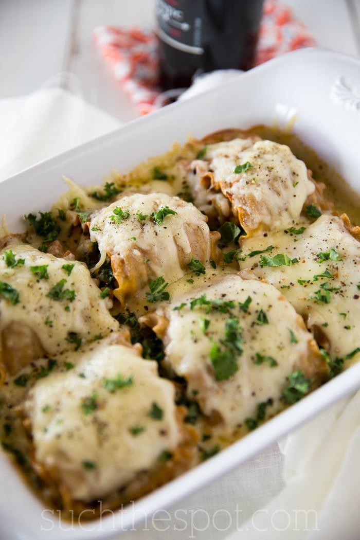 Sausage, kale & butternut squash lasagna roll-ups