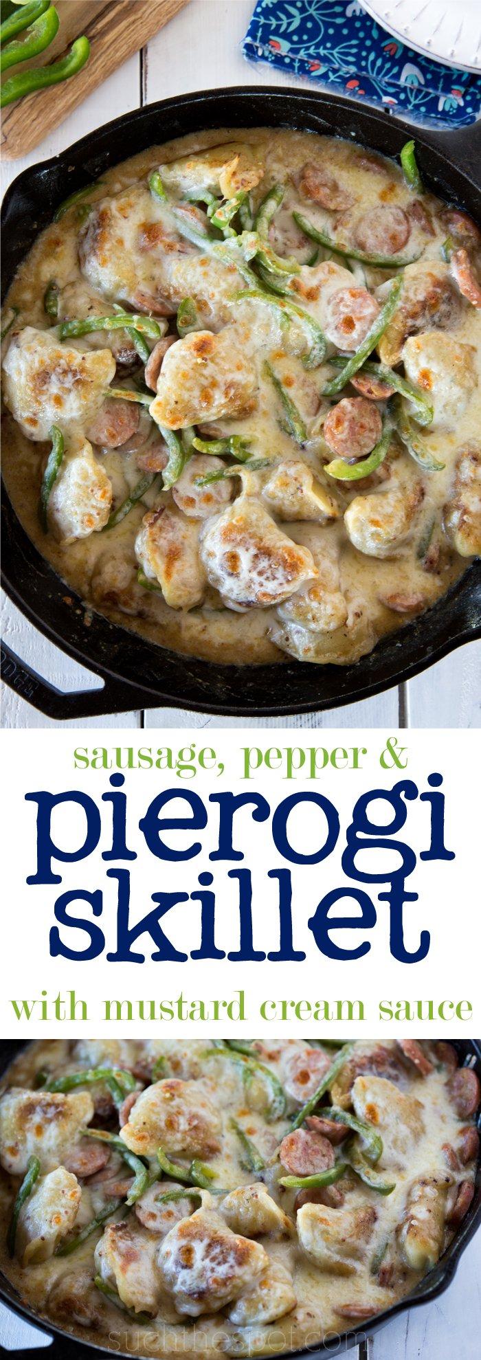 Sausage, pepper & pierogi skillet with mustard cream sauce
