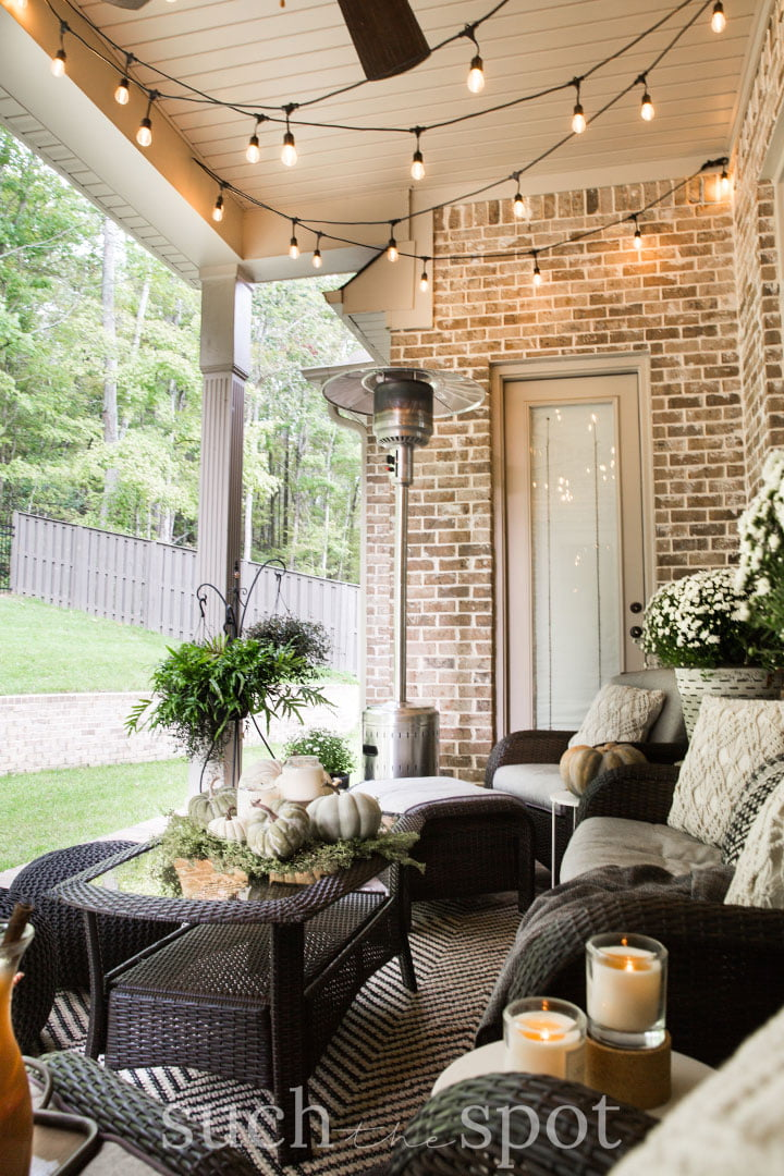 cozy corner in an outdoor patio staged for home sale
