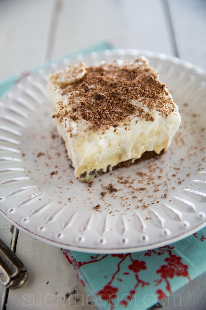 Chocolate pistachio pudding stack