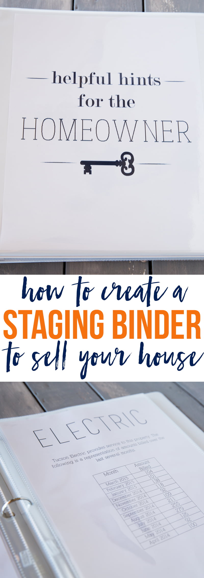 Printable title pages for creating a staging binder to sell your house fast!