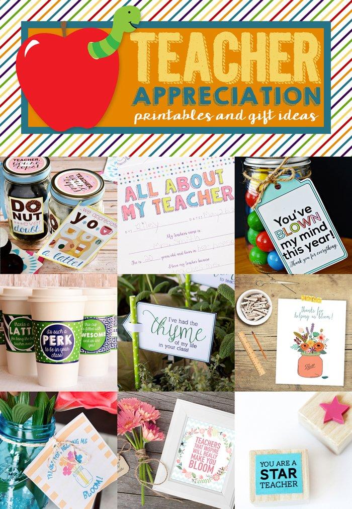 Teacher Appreciation Printables and Gift Ideas