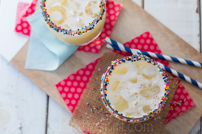 This celebratory cocktail looks and tastes like a birthday cake margarita in cup!