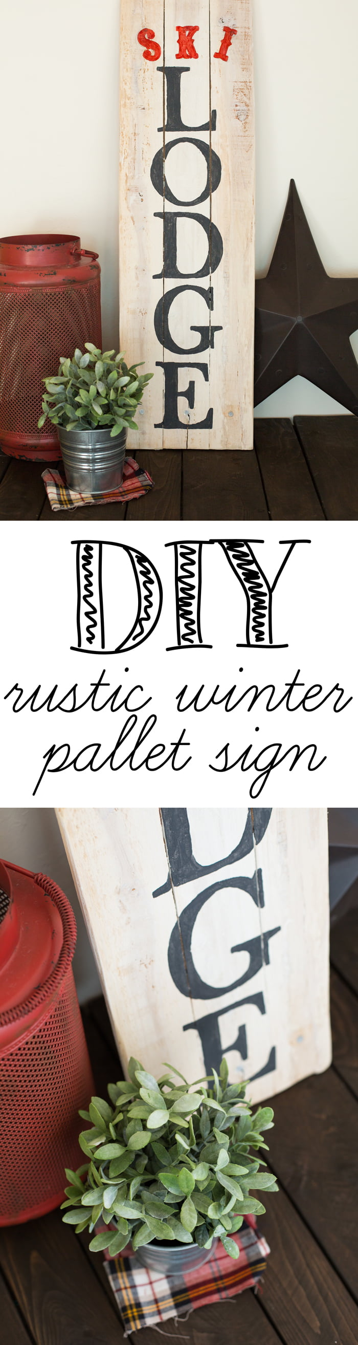 DIY Rustic winter pallet sign