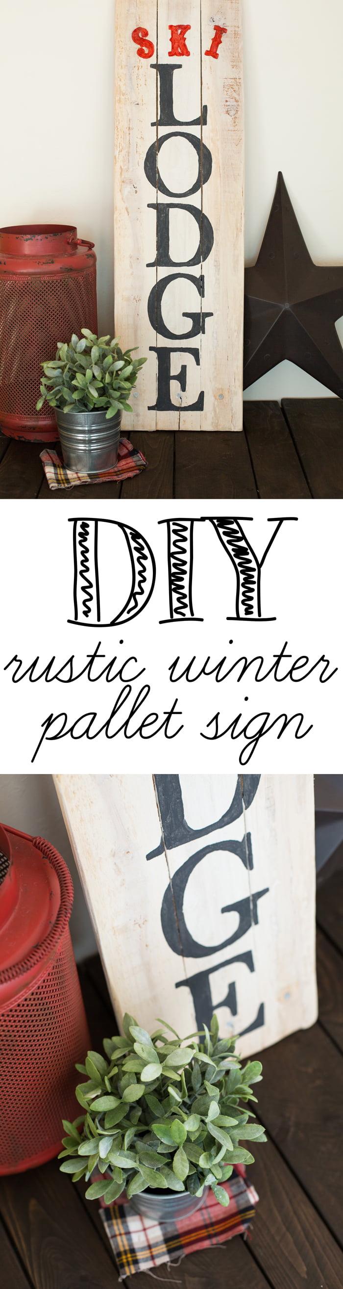 DIY Rustic winter pallet sign