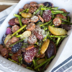Roasted potatoes, sausage & asparagus