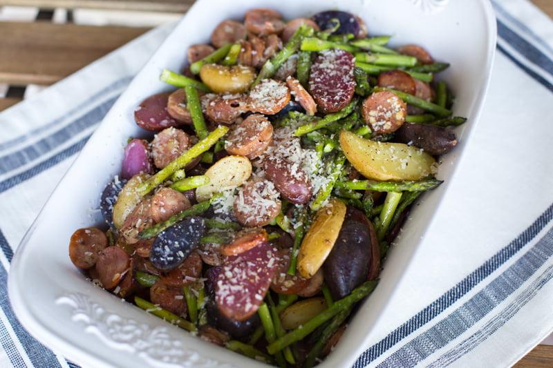 Roasted potatoes, sausage & asparagus