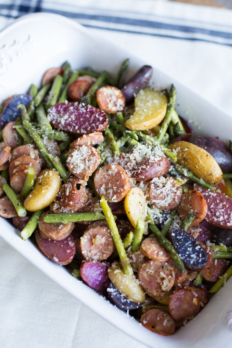 Roasted potatoes, sausage and asparagus