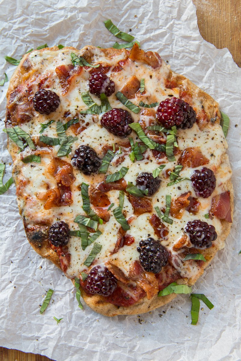 Blackberry, bacon & basil grilled pizza