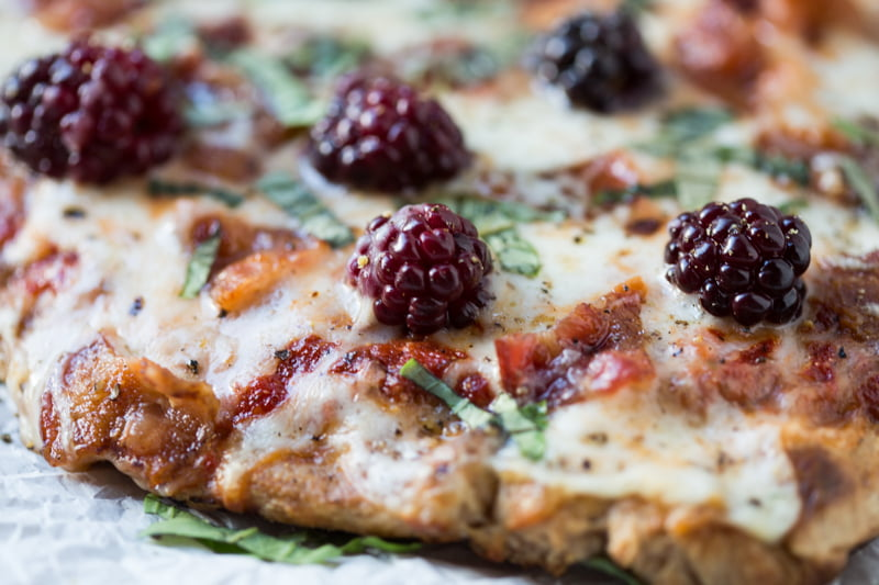 BLACKBERRY BASIL BACON GRILLED PIZZA