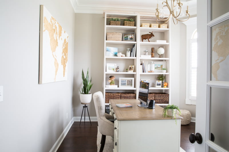 Ideas for creating a travel themed home office space personalized to reflect your travel destinations