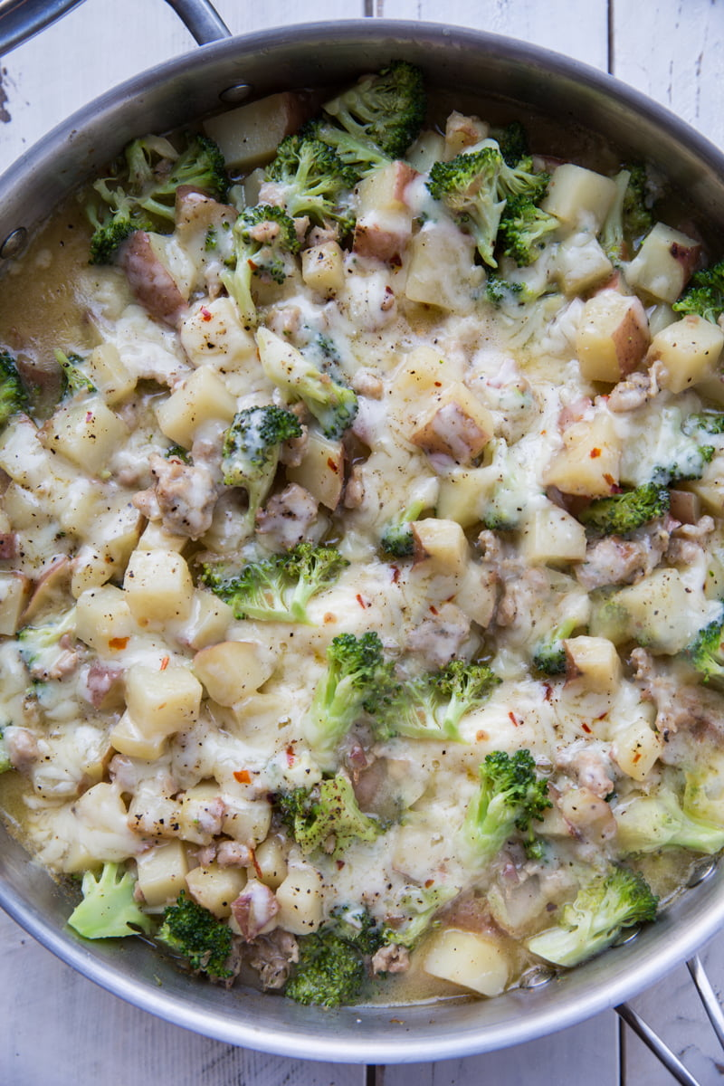 One pan sausage, potatoes and broccoli