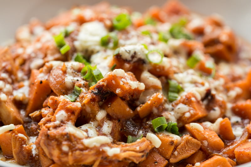 BBQ chicken stuffed sweet potato casserole