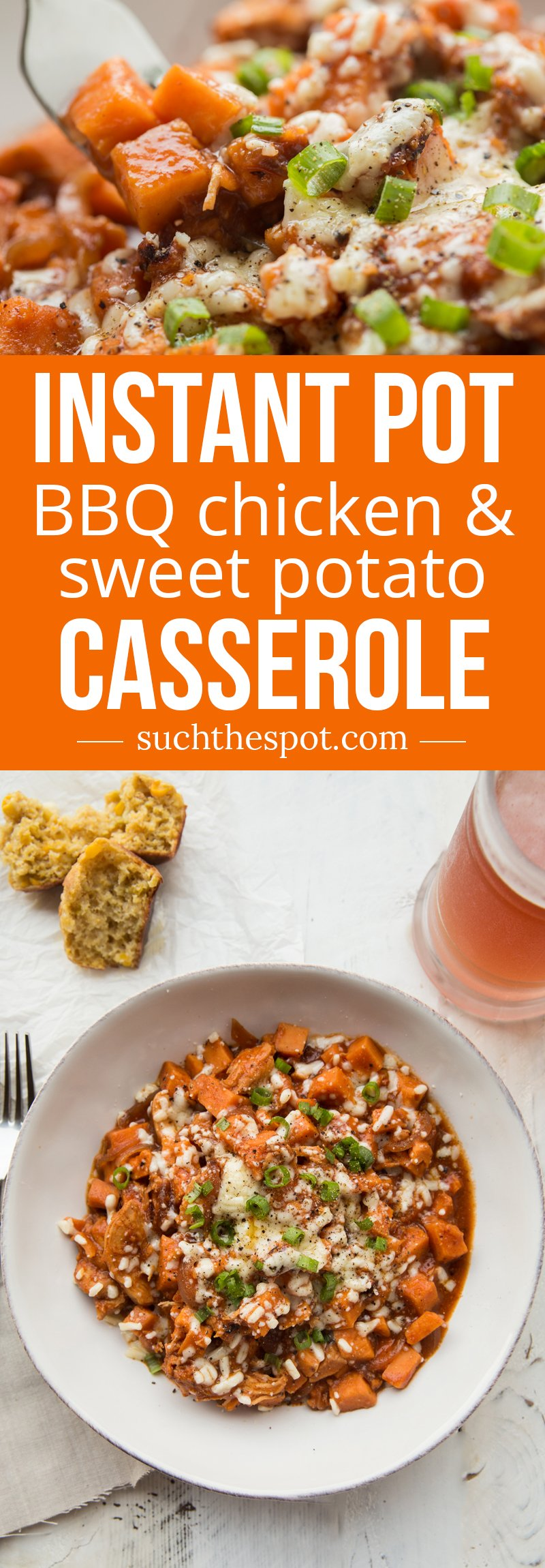 Stuffed sweet potatoes get a makeover in this comfort food casserole made with tangy bbq chicken, loads of cheese and sweet potatoes. It's one of our go-to quick meals for busy weeknights.