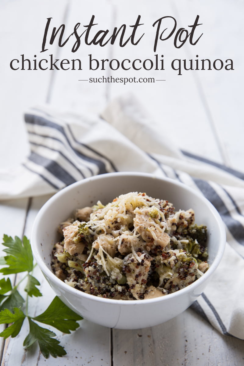 This Instant Pot Chicken Broccoli Quinoa has all the comforts of a casserole in the convenience of a one pot meal. It's one of my go-to simple dinners for busy nights. The whole family loves it!