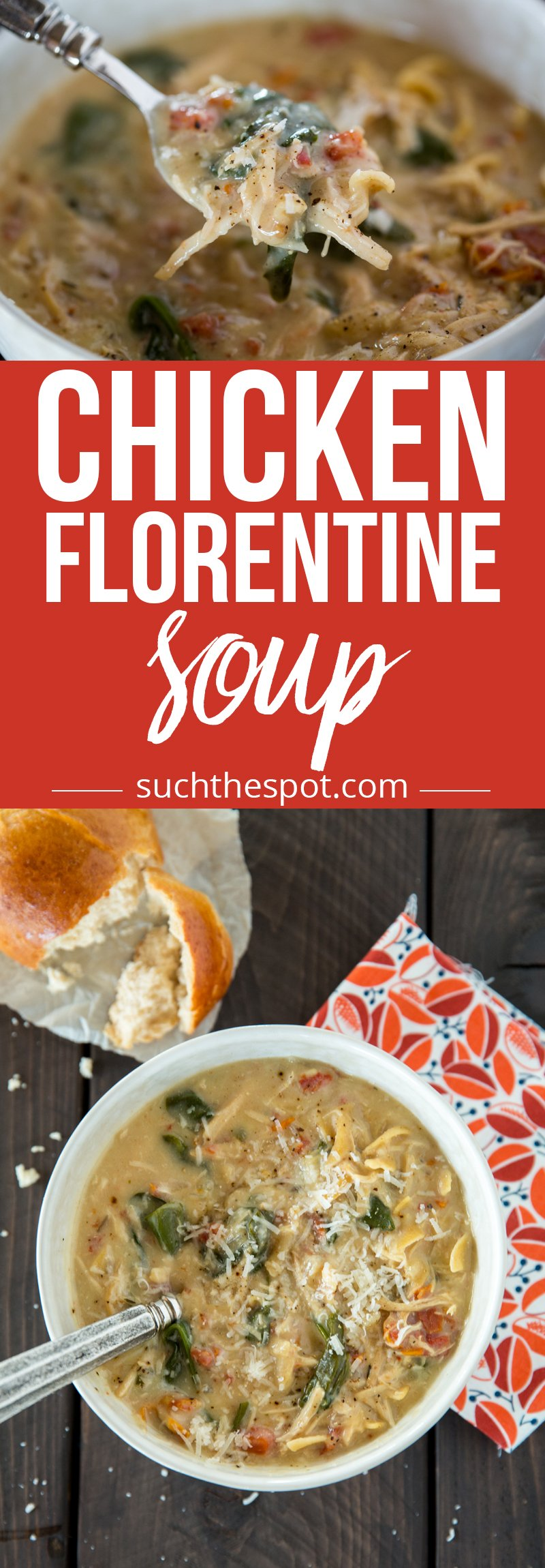 When I'm in the mood for a creamy comfort food, I turn to this Chicken Florentine soup recipe. It's healthy because it's made with all real food ingredients and it's easy because it's made in a slow cooker or Instant Pot.