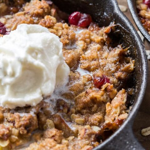 This make ahead Pear Cranberry apple Apple Crisp recipe makes it easy to impress guests. It's a beautiful, delicious dessert that can be made for a crowd or in individual ramekins.