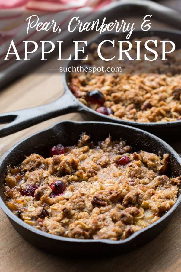 This make ahead Pear Cranberry and Apple Crisp recipe makes it easy to impress guests. It's a beautiful, delicious dessert that can be made for a crowd or in individual ramekins.
