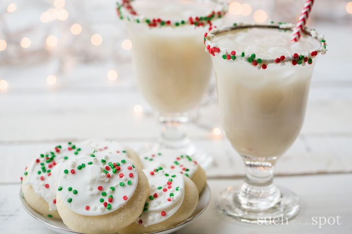 This sugar cookie margarita recipe is a ridiculously fun and festive drink to serve at your holiday cocktail party. It can be made more or less sweet according to your tastes.