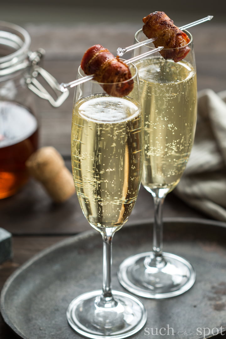 Bacon Washed Bourbon Champagne Cocktail