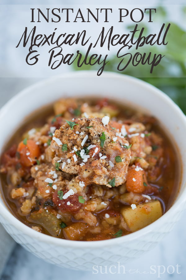This Mexican Meatball and Barley Soup is perfect for a cold weather dinner. It's both hearty and flavorful. If you're looking for a new soup to add to your meal rotation, give this one a try. It's SO good.